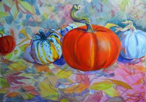 The Sunday Art Show - pumpkin and carnival squash still life painting