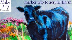 The Sunday Art Show - Black cow paintings - Angus steer wip to finished painting