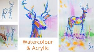 The Sunday Art Show - Watercolour and acrylic - Deer painting - Perfectly Poised