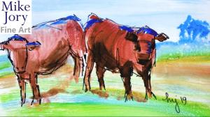 En Plein Air Cow Painting - The Sunday Art Show - Rust Red Poll Steer in a Devon field