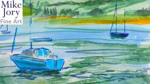 The Sunday Art Show - En Plein Air River Exe at Topsham watercolour painting