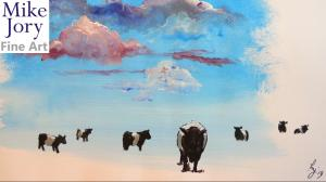 Stepping into the surreal - painting belted galloway cows under a colourful cloudy sky