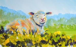 The Sunday Art Show  Sheep and Landscape painting tutorial  lying down in the English countryside