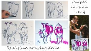 The Sunday Art Show - Herd of cows drawing tutorial - purple cows on a bag