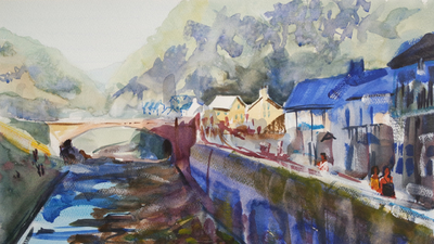 The Sunday Art Show - Expressive impressionist watercolor river painting - Lynmouth in Devon