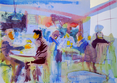 Lost and found edges in impressionist watercolor painting of a restaurant interior