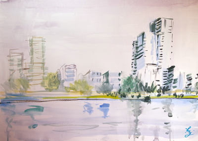 Sky Arts Landscape Artist of the Year 2021 - episode 3 - West Reservoir London - Inktense painting