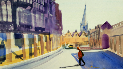 The Sunday Art Show - Expressive impressionist watercolor street scene painting