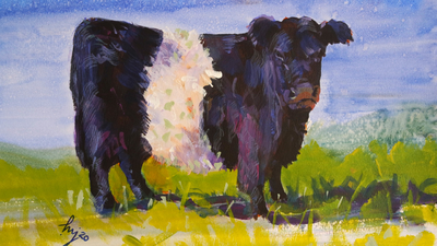 The Sunday Art Show - Ten Minute Cow Painting - Belted Galloway