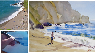 The Sunday Art Show - Ten minute watercolor beach painting - Valley of the Rocks